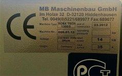 Шильдик станка шлифовального мод. ROBA TECH-1300 S  производства MB Германия только с ротационным агрегатом Год изготовления 2012!